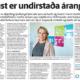 Traust er undirstaða árangurs -Fréttablaðið 23. ágúst 2017
